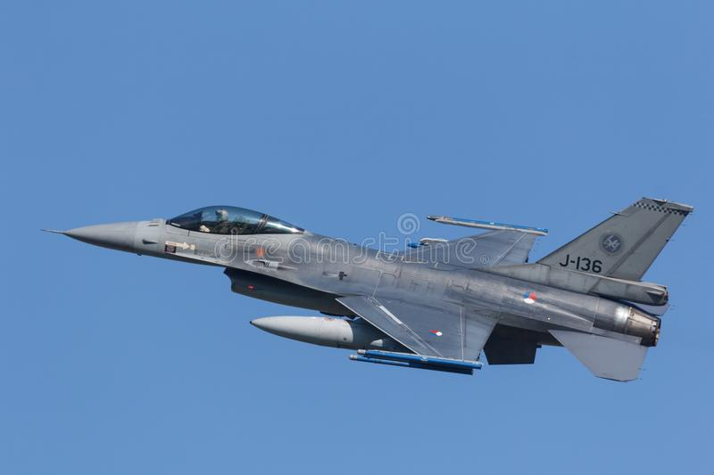 Leeuwarden, Netherlands April 18, 2018: A RNLAF F-16 during the royalty free stock photo