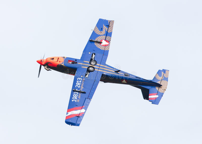LEEUWARDEN, THE NETHERLANDS - JUNE 10, 2016: Austian PC-7 Pilatus during a demonstration at the Royal Netherlands Air Force Days. On june 10, Leeuwarden, The stock photo