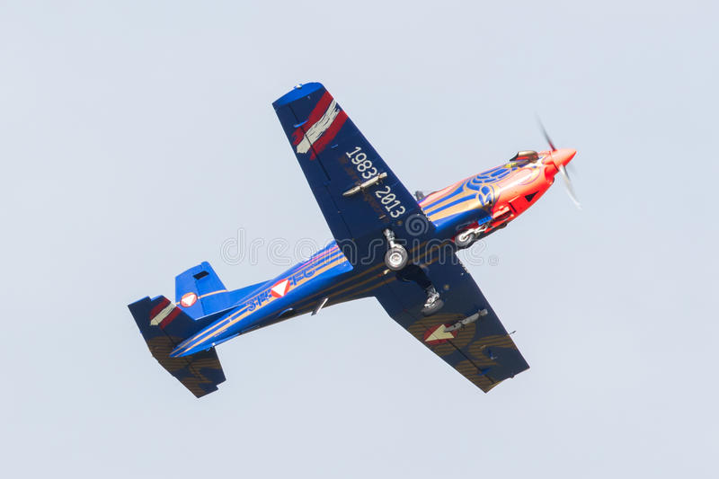 LEEUWARDEN, THE NETHERLANDS - JUNE 10, 2016: Austian PC-7 Pilatus during a demonstration at the Royal Netherlands Air Force Days. On june 10, Leeuwarden, The stock images