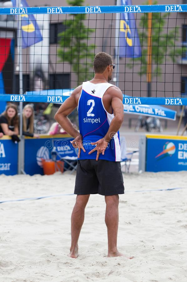 Leeuwarden, the Netherlands - June 10: Bazilian volleyball player during a match in the dutch premier league on June 10, 2018 in. Leeuwarden, the Netherlands stock images