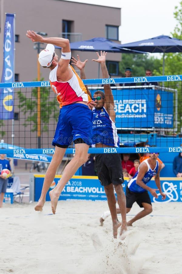 Leeuwarden, the Netherlands - June 10: Dutch beachvolley team du. Ring a match in the dutch premier league on June 10, 2018 in Leeuwarden, the Netherlands stock photo