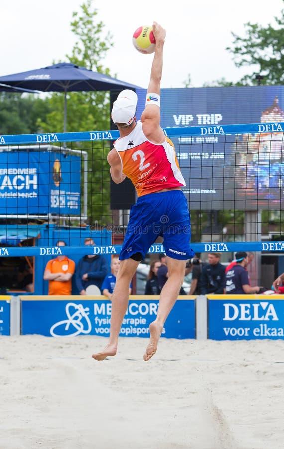 Leeuwarden, the Netherlands - June 10: Dutch beachvolley team du. Ring a match in the dutch premier league on June 10, 2018 in Leeuwarden, the Netherlands stock images