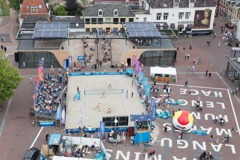 Leeuwarden, the Netherlands - June 10: Dutch beachvolleyball on a field in Leeuwarden, aerial view on June 10, 2018 in Leeuwarden royalty free stock photo