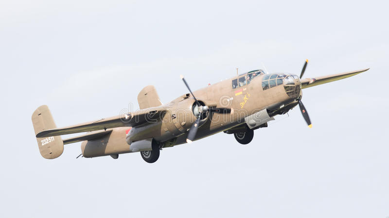 LEEUWARDEN, THE NETHERLANDS - JUNE 10: WW2 B-25 Mitchell bomber royalty free stock images