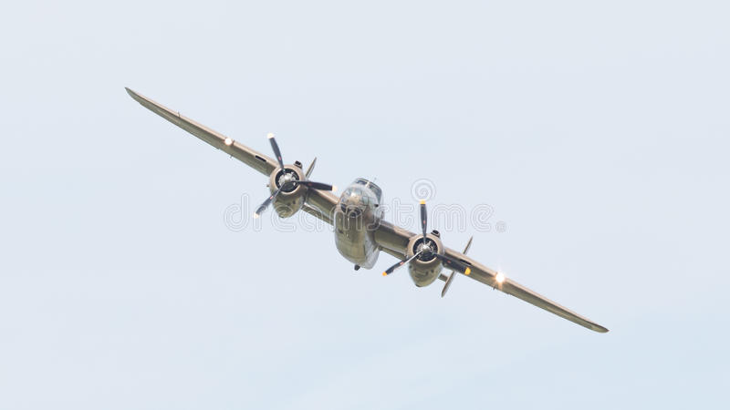 LEEUWARDEN, THE NETHERLANDS - JUNE 10: WW2 B-25 Mitchell bomber stock photo