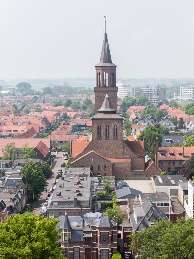 Free LEEUWARDEN, NETHERLANDS - MAY 28, 2016: View Of A Part Of Leeuwarden With A Big Church On May 28, 2016. Stock Photo - 79839440