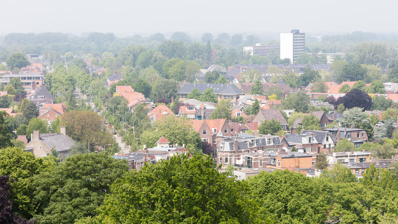 LEEUWARDEN, NETHERLANDS - MAY 28, 2016: View of a part of Leeuwarden with old and new houses on may 28, 2016. stock photography