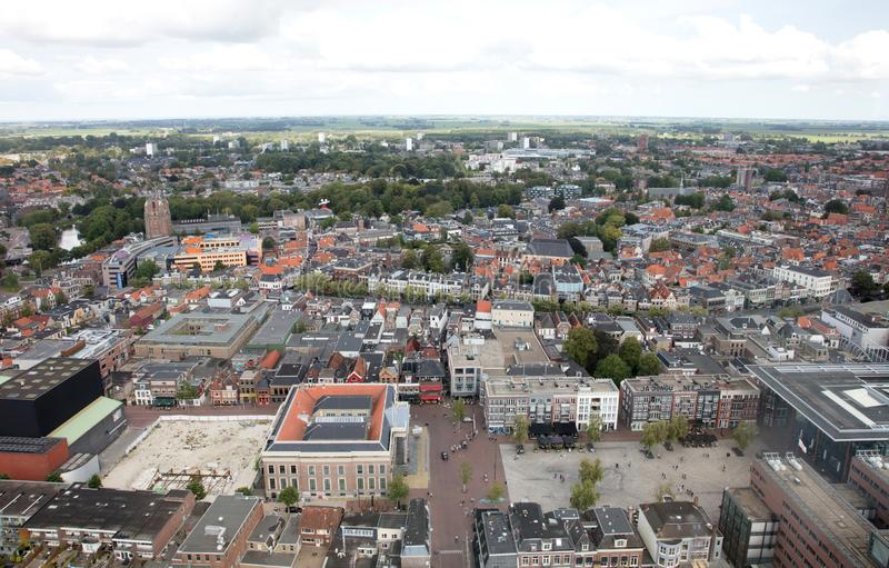 Leeuwarden, the Netherlands, september 1, 2018 - Aerial view over Leeuwarden, the Capital of Culture 2018, the Netherlands on sep stock photo