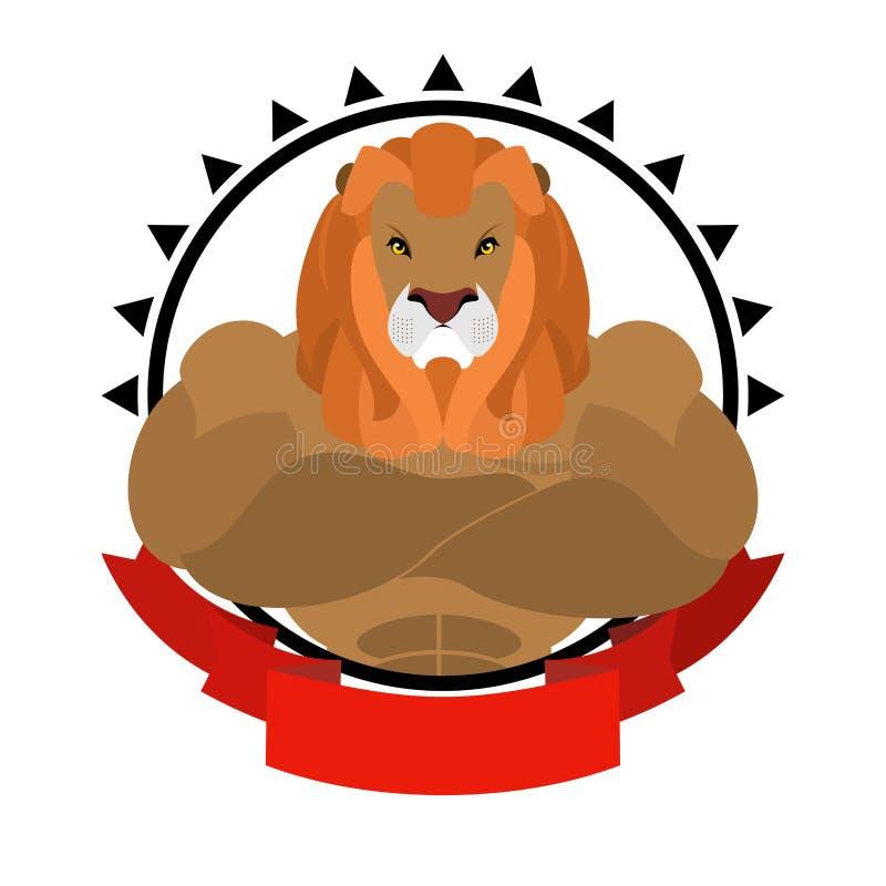 Leeuwatleet om embleem Groot wild dier met ruwharige manen Ben royalty-vrije illustratie