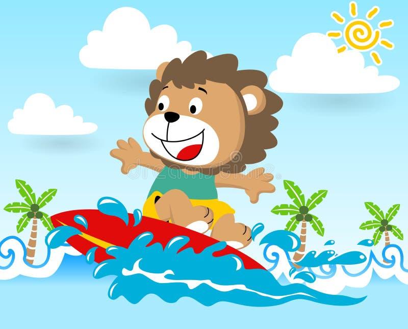 Leeuwbeeldverhaal de surfer in actie bij de zomer vector illustratie
