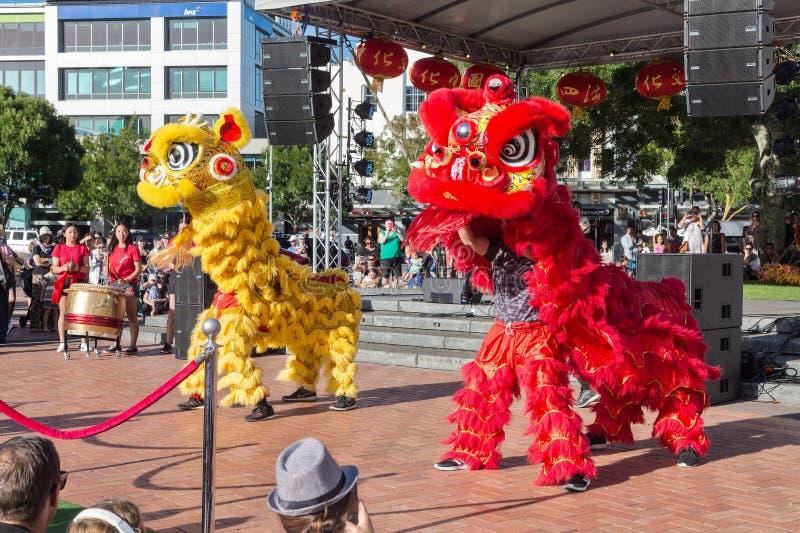 Leeuwdansers die op Chinees Nieuwjaar presteren stock foto
