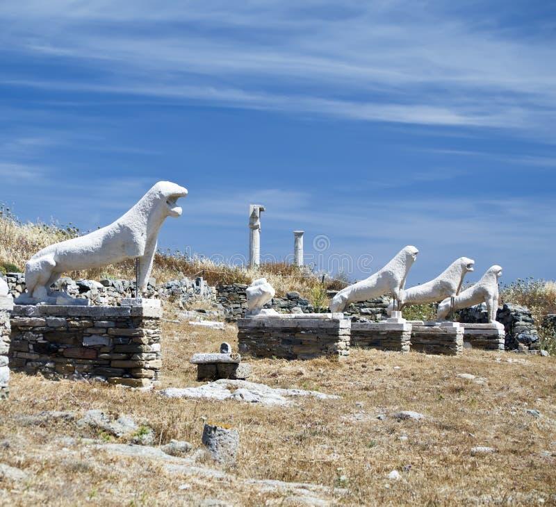 Leeuwen van Naxians Delos royalty-vrije stock afbeelding