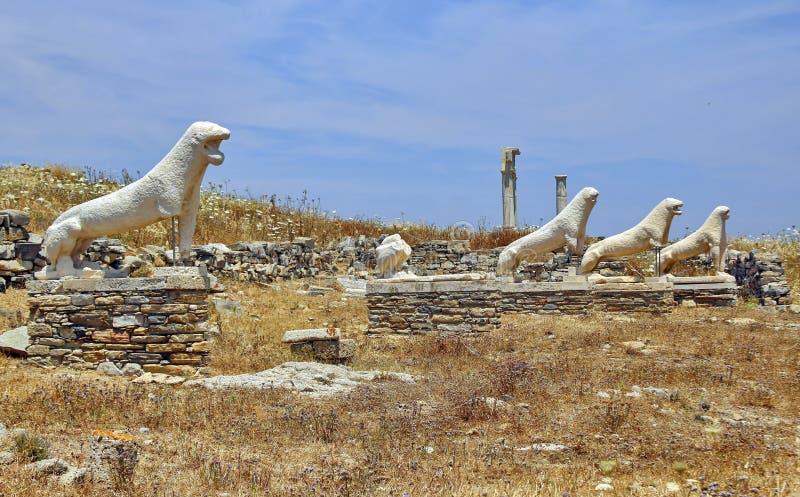 Leeuwen van Naxians Delos stock fotografie