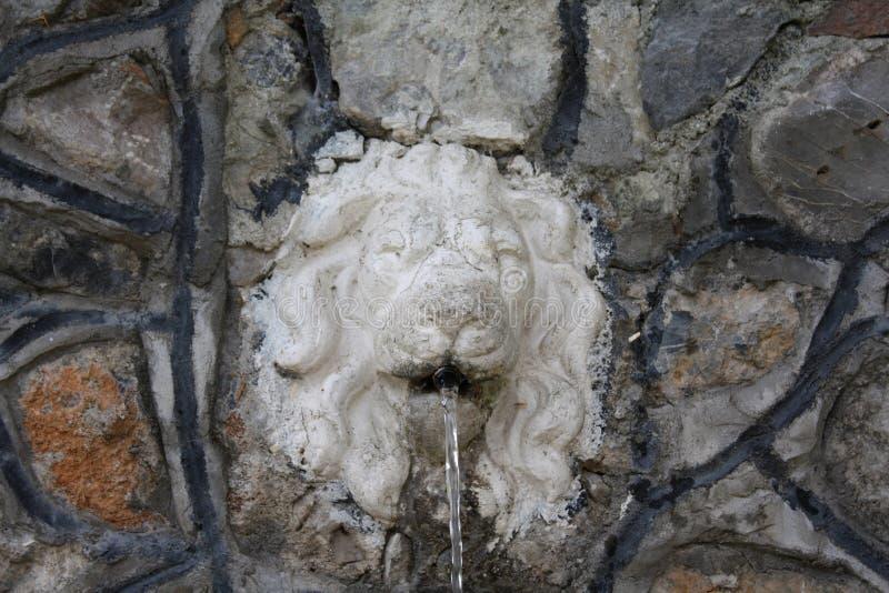 Leeuwenhoofd die zoet water voor het dorp gieten royalty-vrije stock foto's