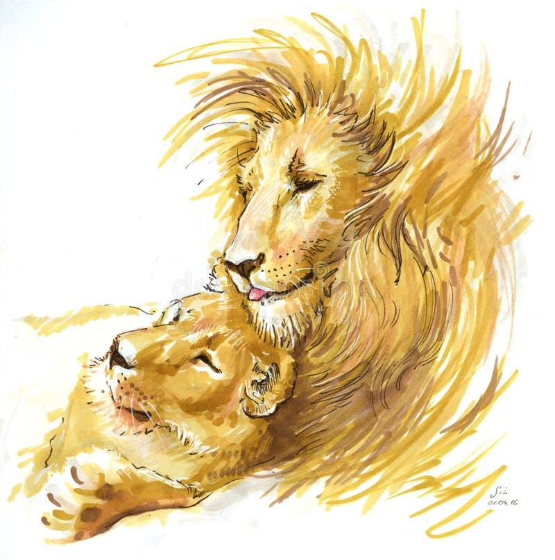 Leeuwenpaar in liefde stock illustratie