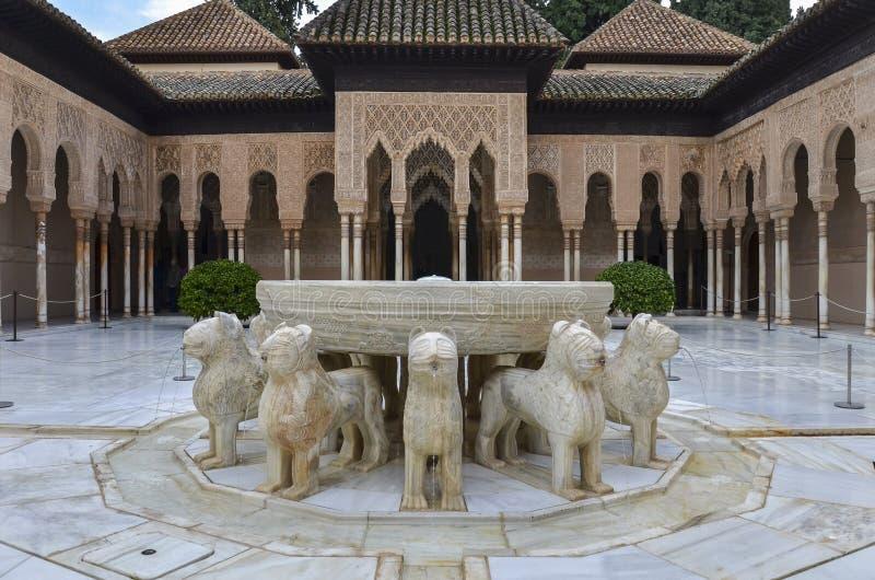 Leeuwenterras in Alhambra, Granada, Spanje royalty-vrije stock fotografie