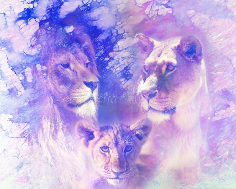 Leeuwfamilie - de leeuw, de leeuwin en de leeuw werpen, op samenvatting gestructureerde achtergrond Marmeren effect stock foto