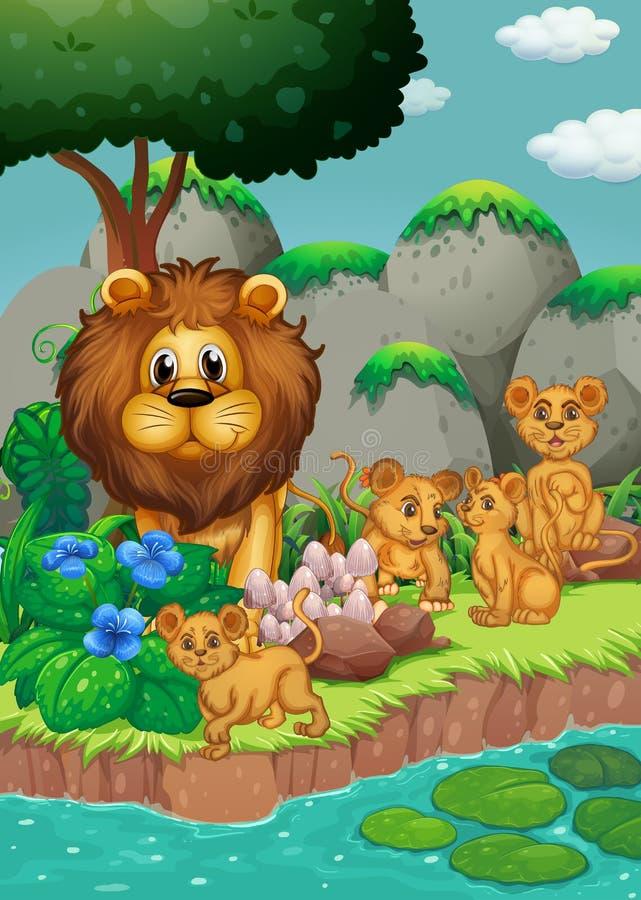 Leeuwfamilie die in het bos leven vector illustratie