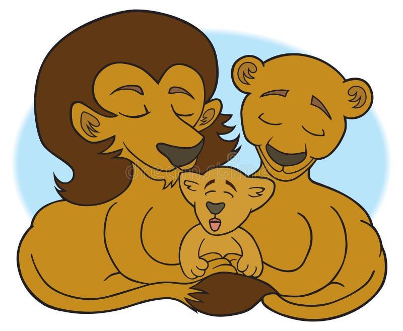 Leeuwfamilie die in het gras liggen stock illustratie
