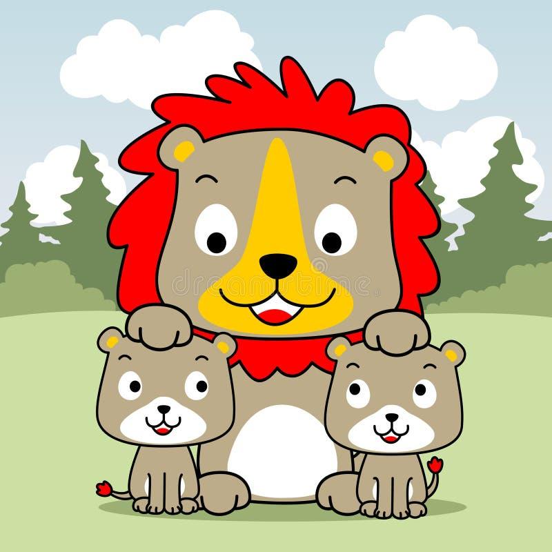Leeuwfamilie die in het gras liggen royalty-vrije illustratie
