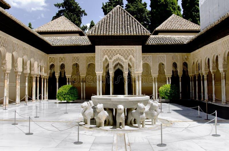 Leeuwfontein in Alhambra paleis royalty-vrije stock afbeeldingen