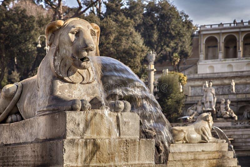 Leeuwfontein in Rome Italië stock afbeeldingen