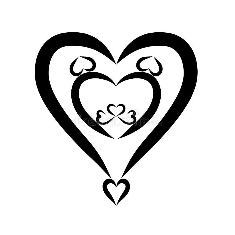 Leeuwhoofd in de vorm van een hart, creatief romantisch patroon stock illustratie
