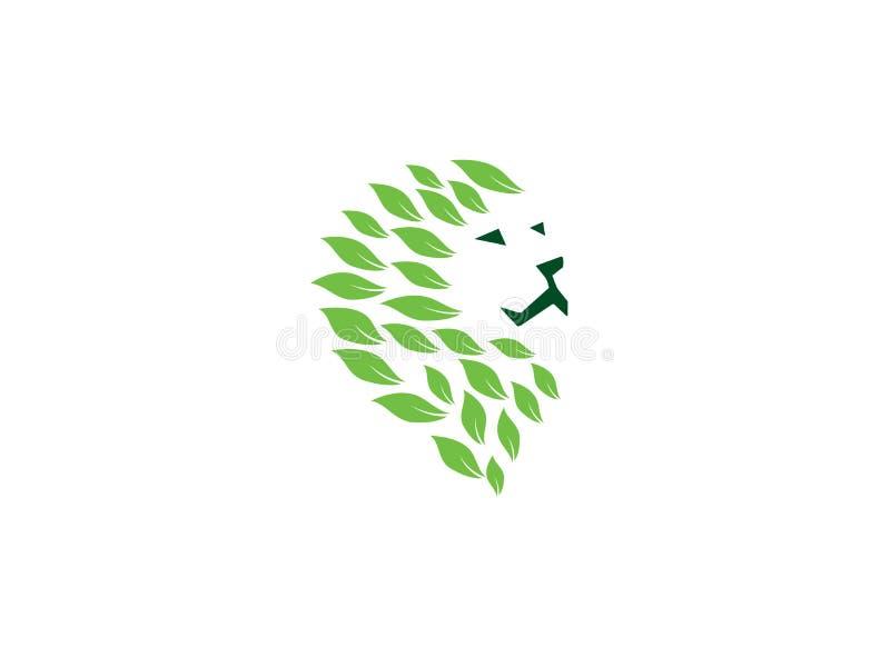 Leeuwhoofd met bladeren voor de illustratie van het embleemontwerp stock illustratie
