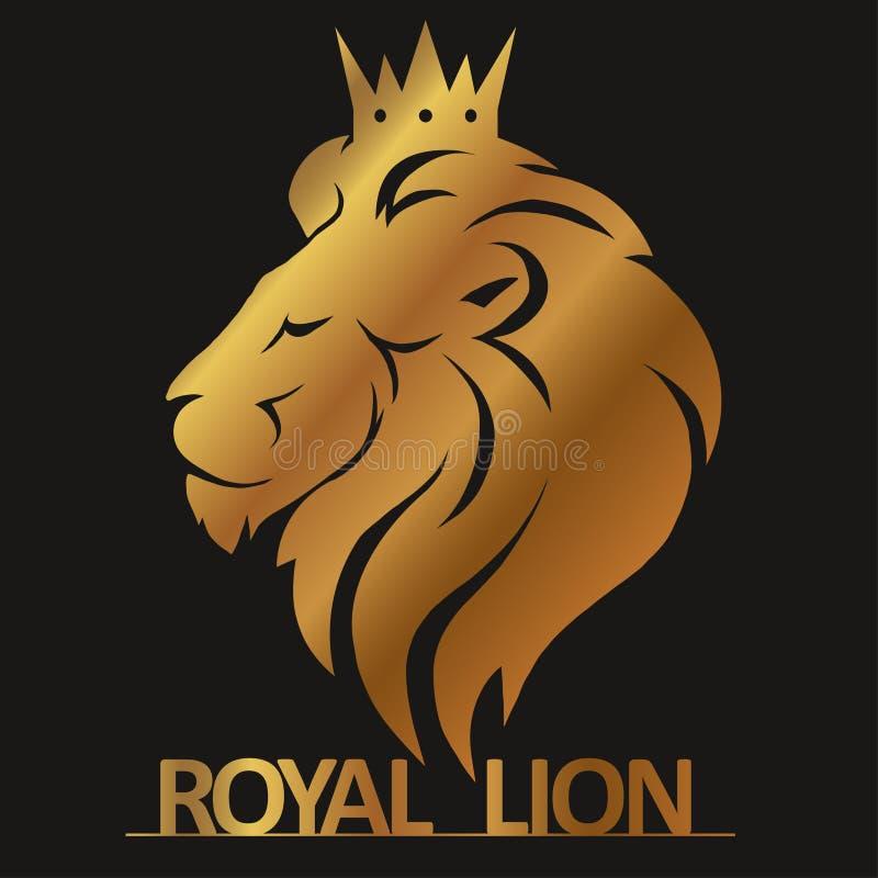 Leeuwhoofd met kroonembleem royalty-vrije illustratie