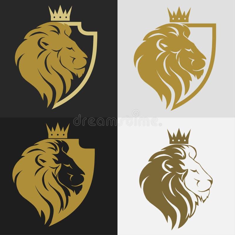 Leeuwhoofd met kroonembleem vector illustratie