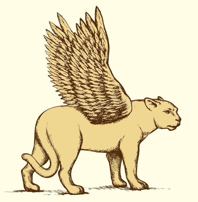 Leeuwin met vleugels Vector tekening stock illustratie