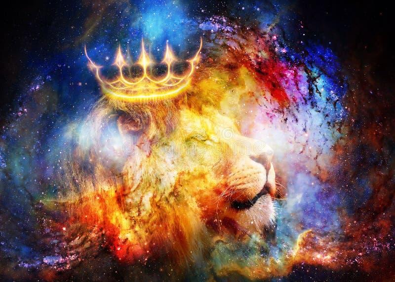Leeuwkoning in kosmische ruimte Leeuw op kosmische achtergrond stock foto
