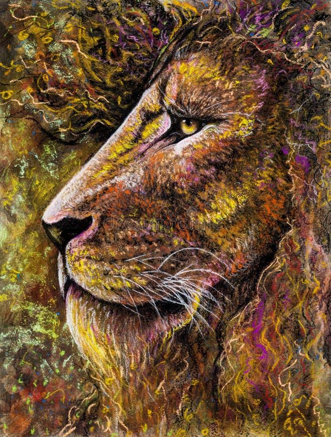 Leeuwportret in houtskool en pastelkleur stock foto's