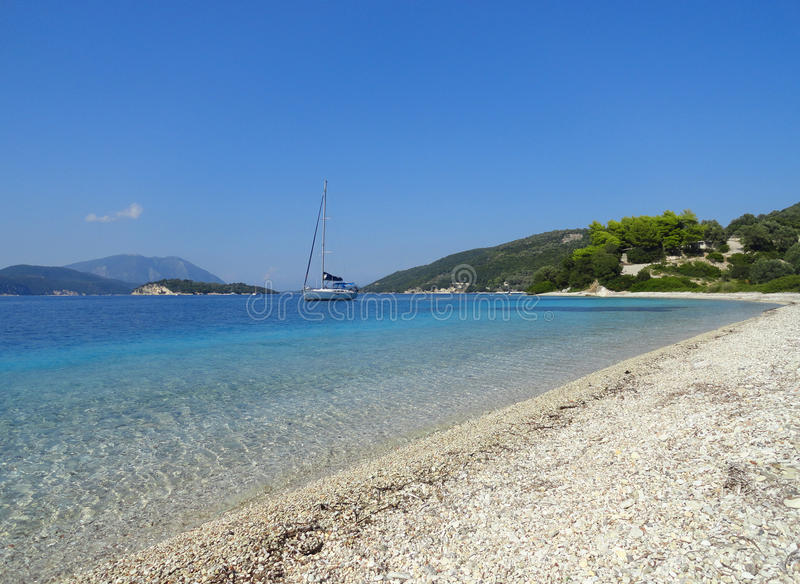 Download Lefkada island beach stock image. Image of beach, boat - 83708773