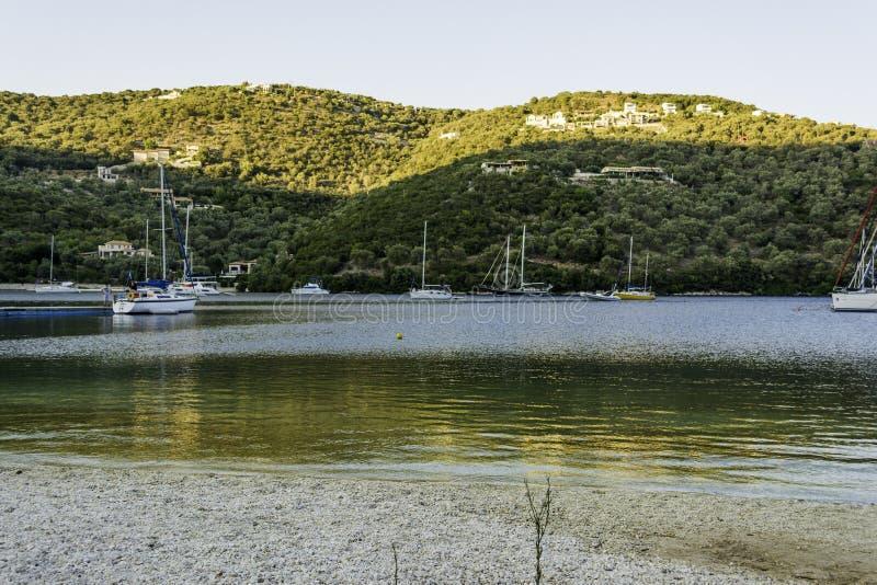 Lefkada island, Greece - August 27 2016: Sivota village in Lefkada Greece royalty free stock photos