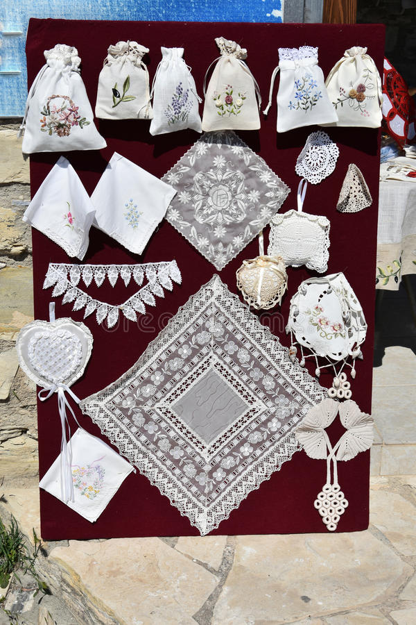 Lefkara embroidery. A typical hendmade souvenir from Cyprus stock photos