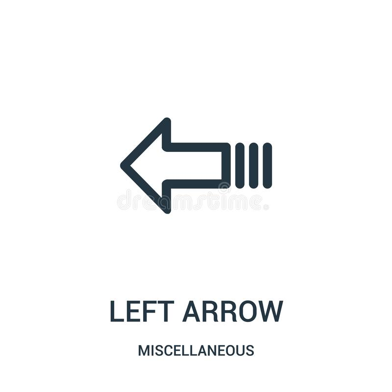 left arrow icon vector from miscellaneous collection. Thin line left arrow outline icon vector illustration. Linear symbol for use stock illustration