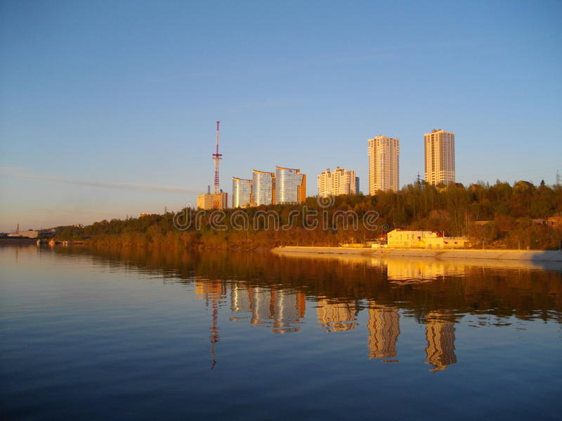 The left Bank of the Kama river. Perm. stock images