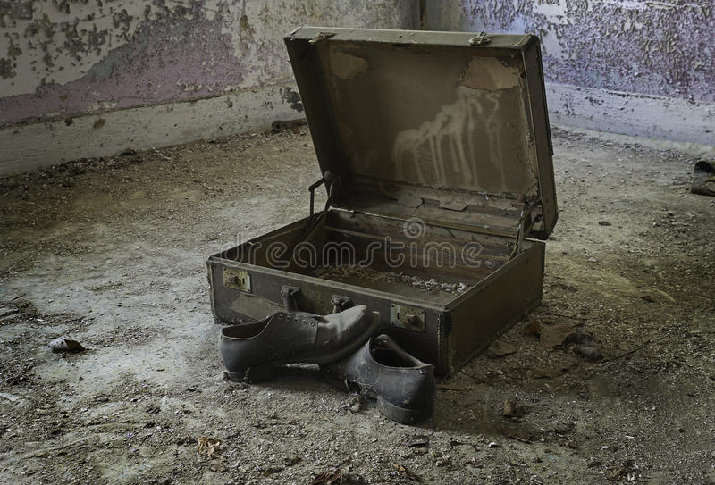 Left Behind. Personal items left behind at an abandoned poorhouse in rural Ohio stock images