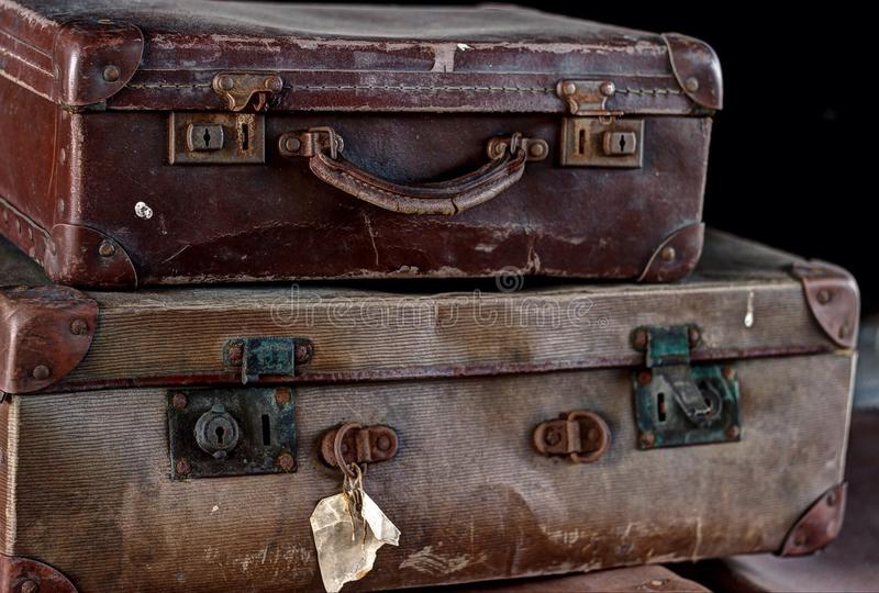 Left-behind suitcases stock photos