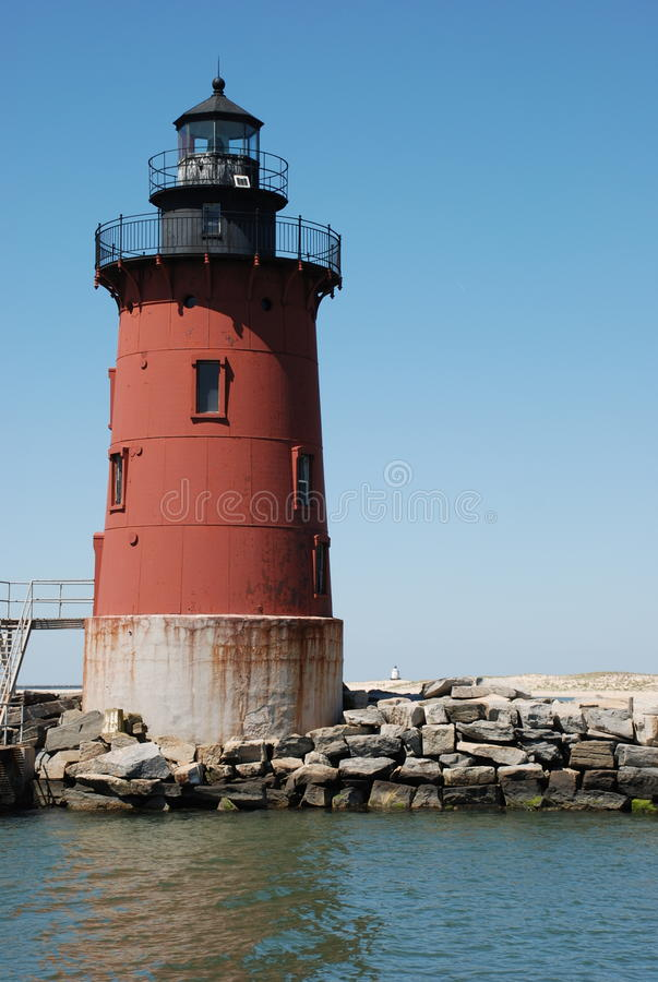 Left Breakwaters Lighthouse, Lewes, Delaware. Looking at Breakwaters Lighthouse Located in Lewes Beach Delaware. Lighthouse is just off the town of Lewes Beach royalty free stock photos