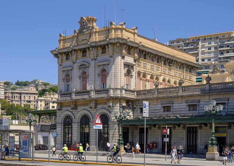 Left end of the Genova Brignole railway station, Genoa, northern Italy. stock photo