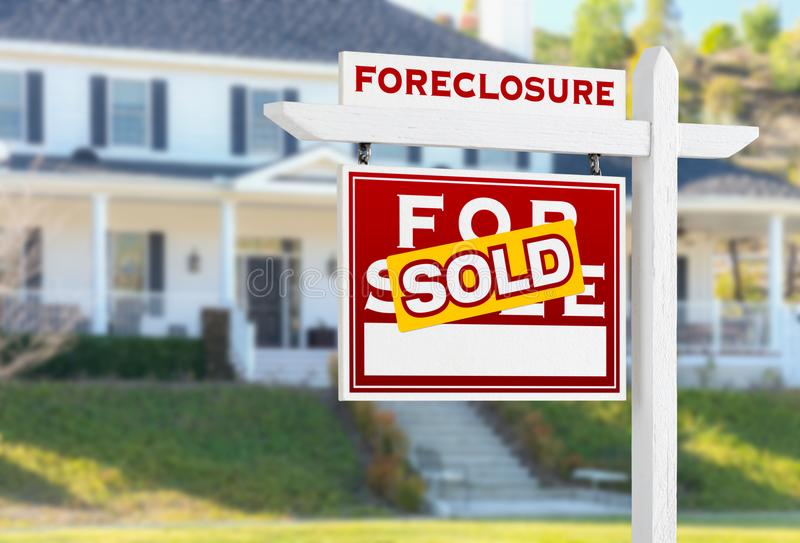 Left Facing Foreclosure Sold For Sale Real Estate Sign in Front royalty free stock images