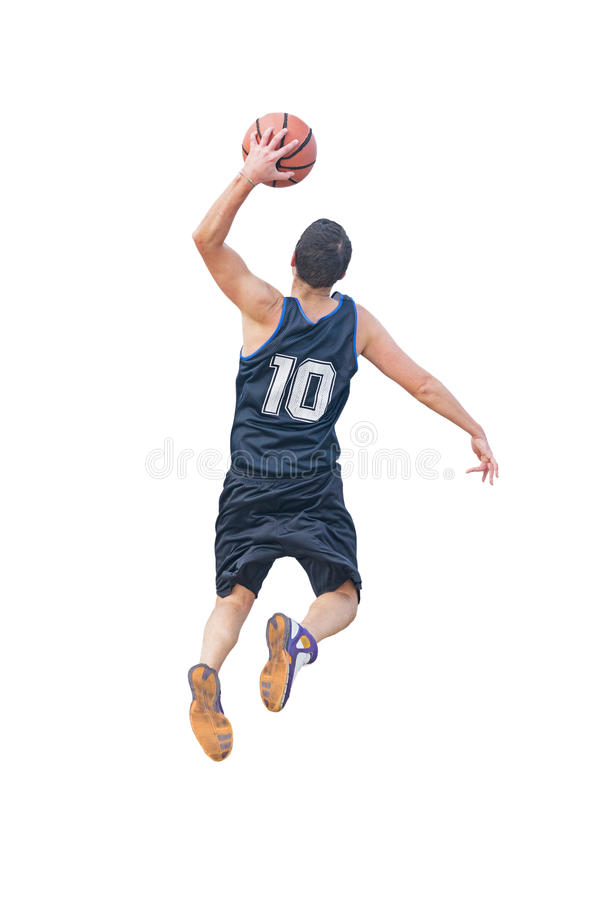 Left hand dunk on white. Left hand dunk isolated on white background royalty free stock photography