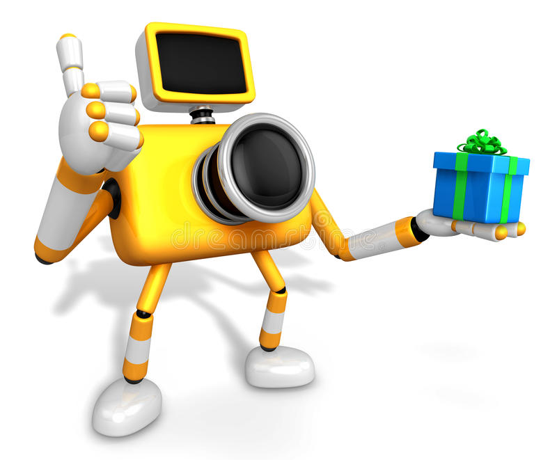 The left hand a gift box in Yellow camera Character, Taking the