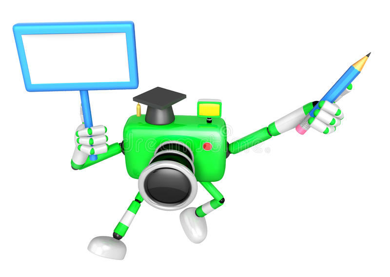 Download The Left Hand Holding The Board Doctor Green Camera Character. T Stock Illustration - Image: 33614532
