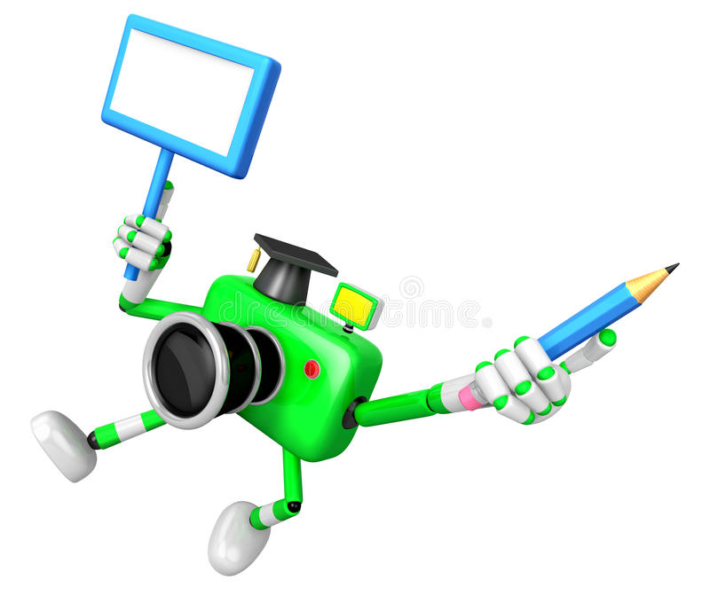 Download The Left Hand Holding The Board Doctor Green Camera Character. T Stock Illustration - Illustration of camera, language: 33617223