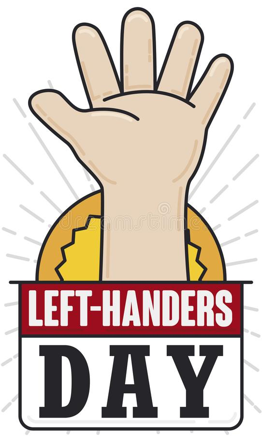 Left Hand with Loose-leaf in Flat Style for Left Handers Day, Vector Illustration. Left hand opened in flat style and outlines, representing pride for Left stock illustration