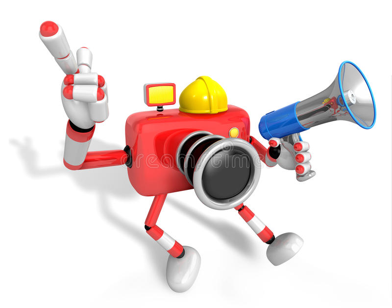 Download The Left Hand Point The Finger Engineer Red Camera Character. Th Stock Illustration - Image: 29486377