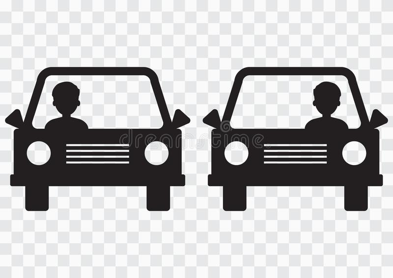 Left-hand and right-hand traffic. Cars with driver on transparent background. Vector illustration. Left-hand and right-hand traffic. Cars with driver on royalty free illustration